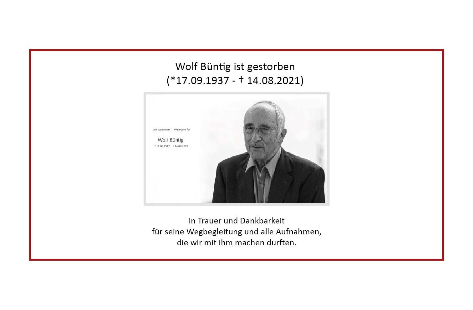 Zum Tod von Wolf Büntig